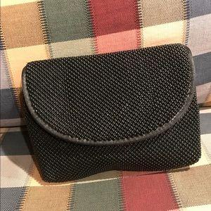 SAKS FIFTH AVE Black Beaded Clutch Makeup Bag